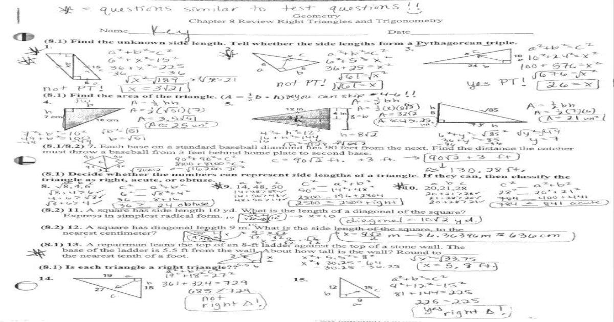 Geometry ch 8 Review Answer key - ch 8 Review Answer key 2 ...