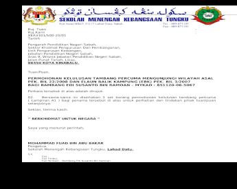 Surat Penghantar Borang Permohonan Tambang Percuma Mengunjungi Wilayah Asal Di Bawah Pekeliling Perkhidmatan Bil 22 Tahun 2008 Lampiran A1